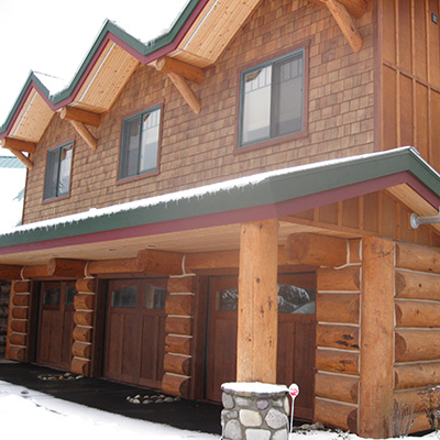 Schaller garage by Sandpoint Builders inc., a custom luxury home builder in North Idaho.