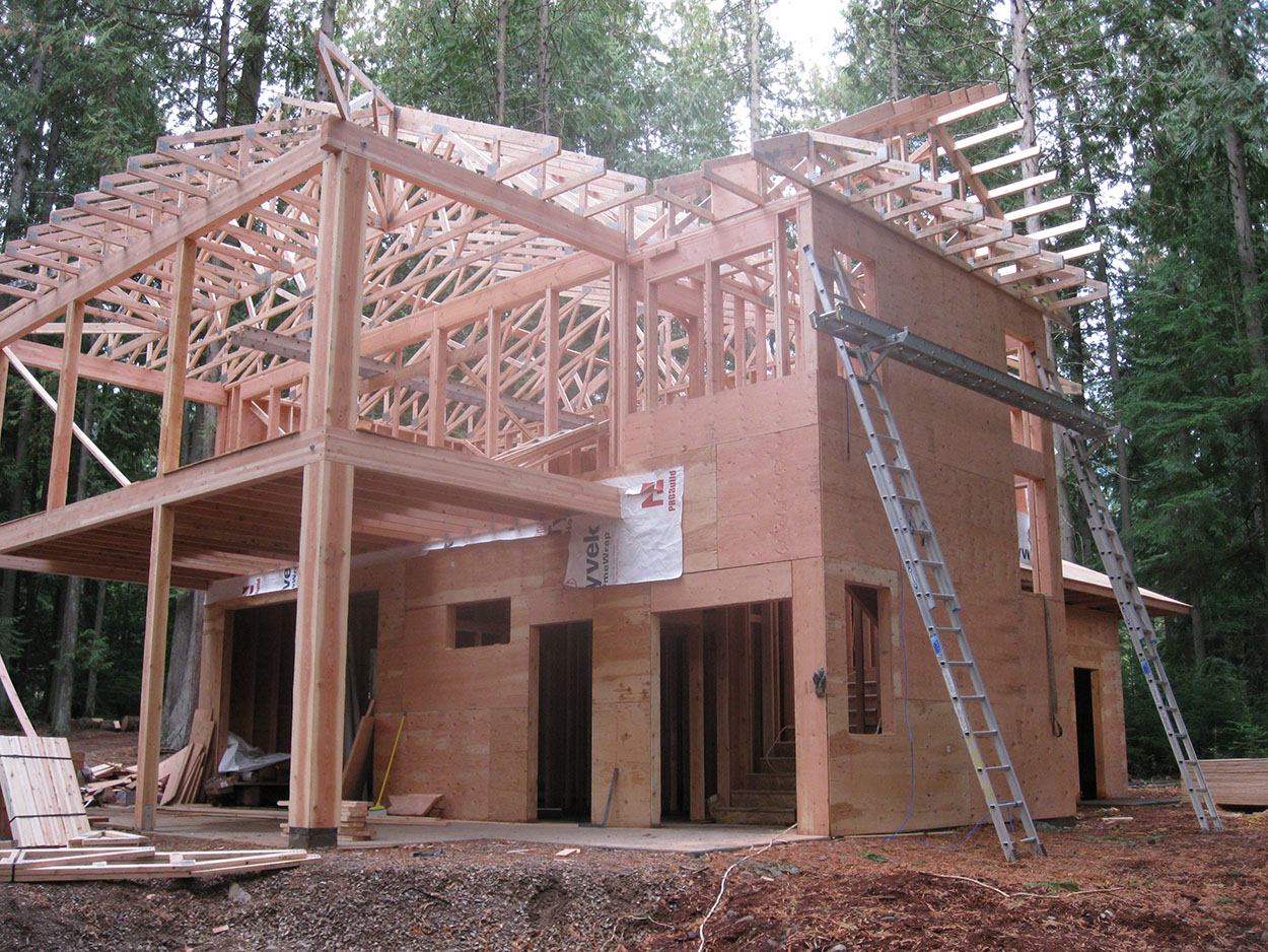 Custom home by Sandpoint Builders in North Idaho, in the building process