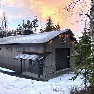 Knott shop by Sandpoint Builders inc., a custom luxury home builder in North Idaho.